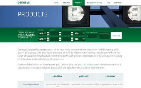 Screenshot of Products Page lightrecreated.com - Genesys Global - captured July 18, 2014