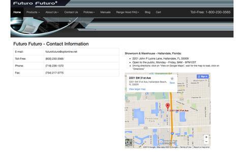 Screenshot of Contact Page futurofuturo.com - Range Hood Manufacturer Contact Information - captured Aug. 3, 2015