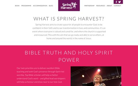 Screenshot of About Page springharvest.org - What is Spring Harvest? Spring HarvestSpring Harvest - captured Jan. 12, 2016