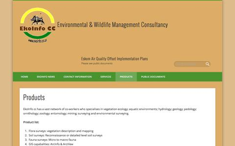Screenshot of Products Page ekoinfo.co.za - Products – Environmental & Wildlife Management Consultancy - captured Nov. 3, 2016