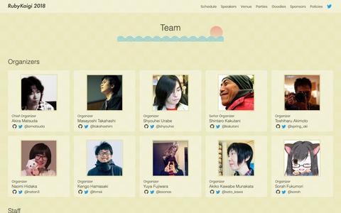 Screenshot of Team Page rubykaigi.org - Team       - RubyKaigi 2018 - captured Oct. 23, 2018