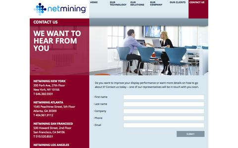 Screenshot of Contact Page netmining.com - Netmining Contact Information - Phone Numbers & Addresses Contact Info - Netmining - captured Sept. 16, 2014