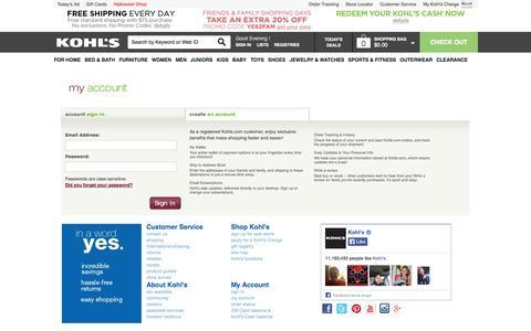 Screenshot of Login Page kohls.com - Kohl's | Shop Clothing, Shoes, Home, Kitchen, Bedding, Toys & More - captured Sept. 19, 2014