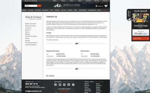 Screenshot of About Page Privacy Page Contact Page simplyhike.co.uk - Customer Services | Simply Hike UK - captured Sept. 23, 2014