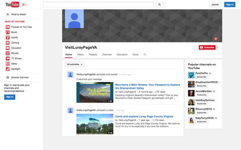 Screenshot of YouTube Page youtube.com - VisitLurayPageVA  - YouTube - captured Nov. 2, 2014