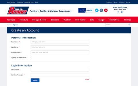 Screenshot of Signup Page superamart.com.au - Create New Customer Account - captured Nov. 1, 2014