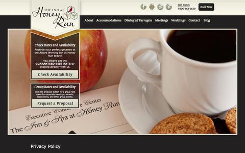 Screenshot of Privacy Page innathoneyrun.com - Privacy Policy   Inn At Honey Run - captured Feb. 22, 2016