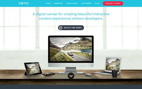Screenshot of Home Page ceros.com - Digital Catalog Software & Content Marketing Software | Ceros - captured Sept. 10, 2014