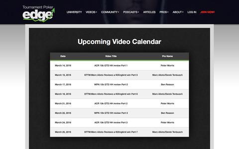 Screenshot of tournamentpokeredge.com - Upcoming Video Calendar | tournamentpokeredge - captured March 20, 2016