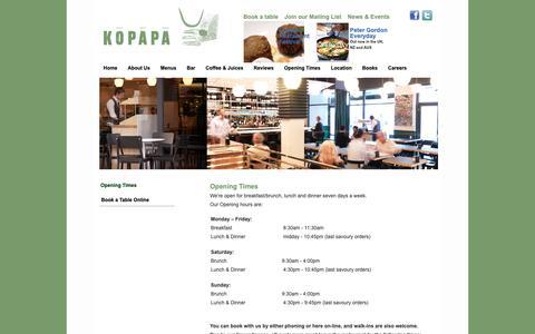 Screenshot of Hours Page kopapa.co.uk - Opening Times Kopapa Restaurant - captured Dec. 20, 2018