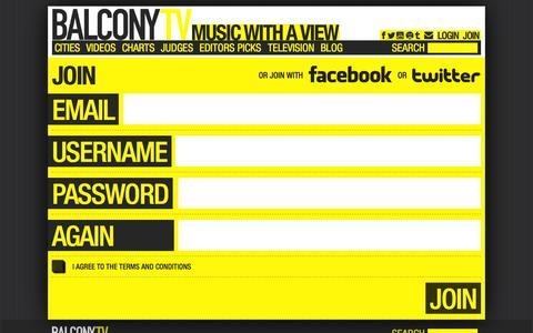 Screenshot of Signup Page balconytv.com - BalconyTV - captured Nov. 2, 2014