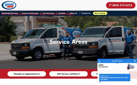 Screenshot of Locations Page rooterhero.com - Service Areas – Rooter Hero - captured Oct. 20, 2018