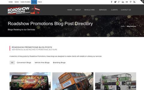 Screenshot of Blog roadshowpromotions.co.uk - Blog Post Directory - Roadshow Promotions Blogs - captured Oct. 18, 2018