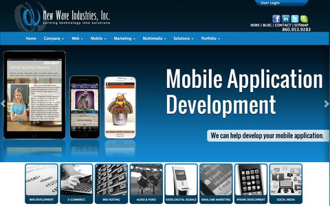 Screenshot of Menu Page newwaveindustries.com - CT Web Design Company Android and iPhone App Development Connecticut - captured Nov. 4, 2014