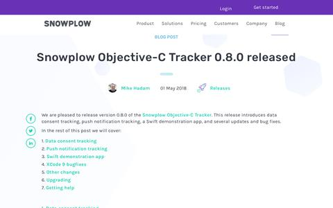 Screenshot of Blog snowplowanalytics.com - Snowplow Objective-C Tracker 0.8.0 released - captured Feb. 10, 2020
