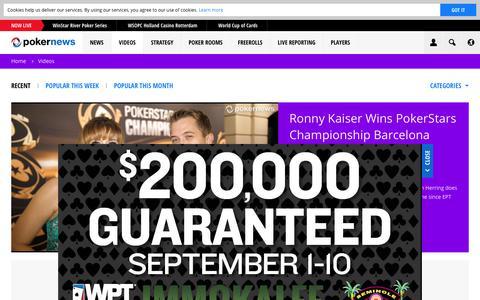 Screenshot of pokernews.com - Online Poker Videos. Tournaments, strategy and webcasts | PokerNews - captured Sept. 1, 2017