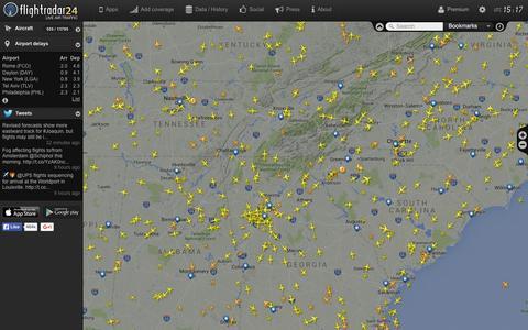 Screenshot of Home Page flightradar24.com - Flightradar24.com - Live flight tracker! - captured Oct. 2, 2015