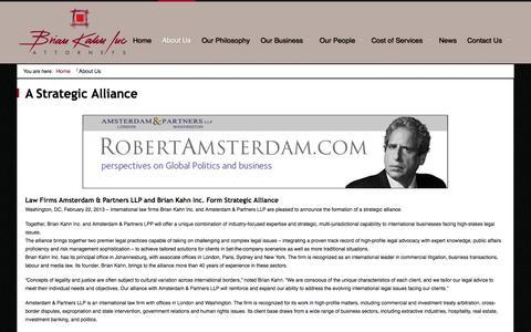 Screenshot of About Page briankahn.co.za - A Strategic Alliance - captured Oct. 4, 2014