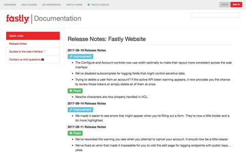 Release Notes: Fastly Next Generation Site | Fastly