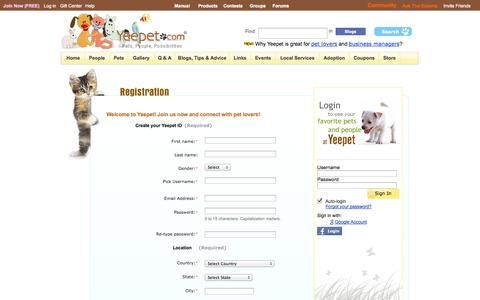 Screenshot of Signup Page yeepet.com - Yeepet - captured Nov. 2, 2014