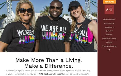 Screenshot of Jobs Page aidshealth.org - AHF Career Opportunities - AIDS Healthcare Foundation - captured Sept. 27, 2018