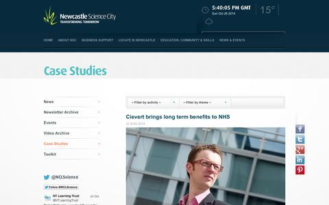 Screenshot of Case Studies Page newcastlesciencecity.com - Case Studies - captured Oct. 26, 2014