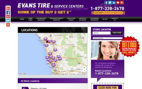 Screenshot of Locations Page evanstire.com - Locations - San Diego - Evans Tire & Service Centers - captured Dec. 12, 2015