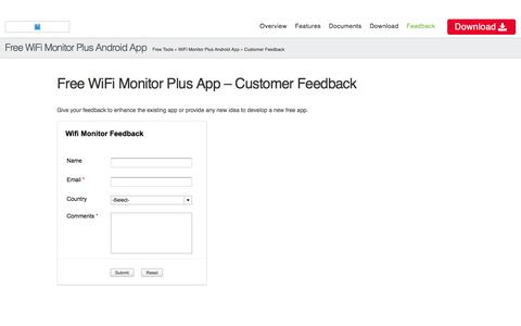 Free WiFi Monitor Analyzer & Surveyor Android App - Customer Feedback