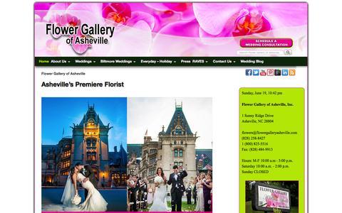 Screenshot of Home Page flowergalleryasheville.com - Flower Gallery of Asheville | Asheville's Premiere Florist | Wedding Specialists - captured June 20, 2016