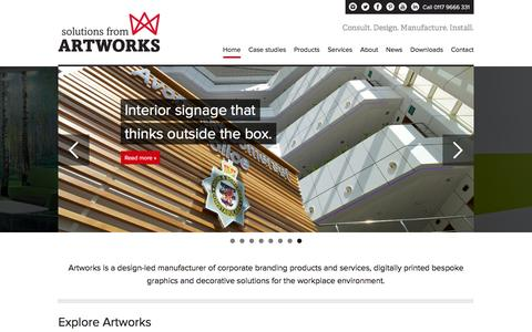 Screenshot of Home Page artworks-solutions.com - Digitally Printed Bespoke Graphics and Decorative Solutions - Artworks Solutions Ltd - captured Feb. 6, 2016