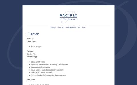 Screenshot of Site Map Page pacificinvestments.com - Site Map — Pacific Investments - captured Oct. 3, 2016