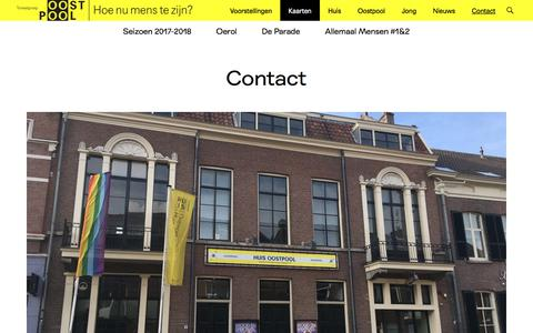 Screenshot of Contact Page toneelgroepoostpool.nl - Contact - Toneelgroep Oostpool - captured June 17, 2017