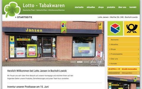 Screenshot of Home Page lotto-jansen.de - Lotto Jansen - Startseite - captured June 9, 2016