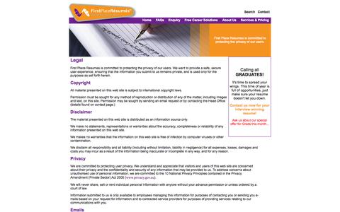 Screenshot of Terms Page firstplaceresumes.com.au - Legal - captured Sept. 30, 2014
