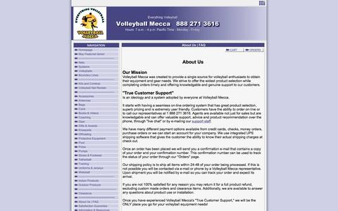 Screenshot of About Page Privacy Page FAQ Page volleyballmecca.com - About Us | FAQ - captured Dec. 19, 2016