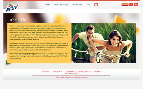 Screenshot of About Page dabur.com - About US | Réal Activ - captured Sept. 23, 2018