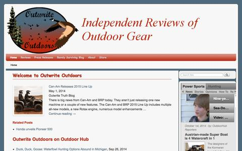 Screenshot of Home Page outwriteoutdoors.com - Outwrite Outdoors - captured Oct. 7, 2014