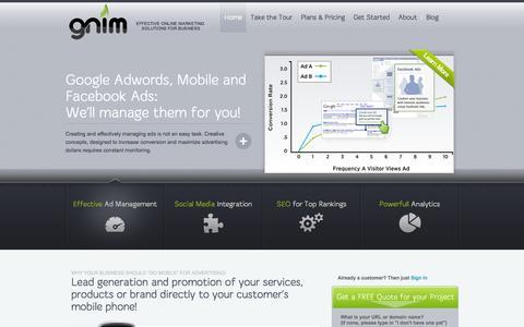 Screenshot of Home Page gnim.ca - Web Marketing ǀ Online Marketing Strategies ǀ Social Media Promotion ǀ Ottawa Gatineau SEO - captured Oct. 1, 2014