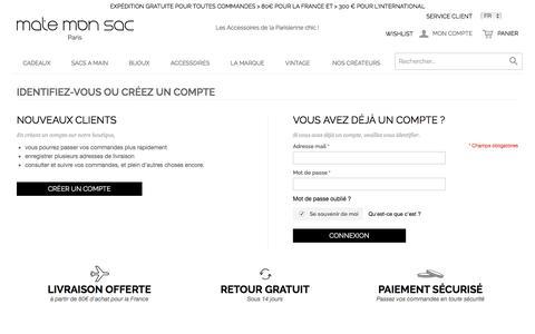 Screenshot of Login Page matemonsac.com - Identifiant client - captured Aug. 10, 2016