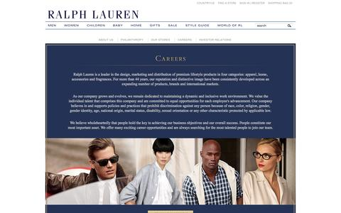 Screenshot of Jobs Page ralphlauren.com - Ralph Lauren Careers - About Ralph Lauren - captured Sept. 18, 2014