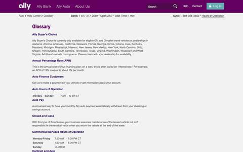 Screenshot of Hours Page ally.com - Auto Glossary & Definitions | Ally Auto - captured Nov. 6, 2015