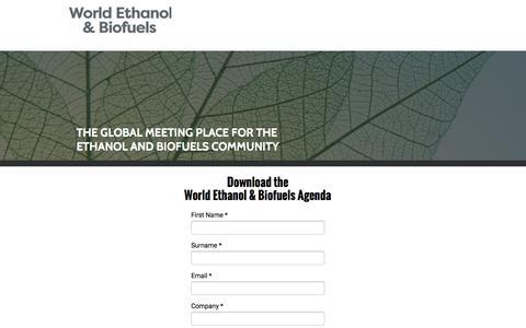 Screenshot of Landing Page knect365.com - Download Agenda - World Ethanol & Biofuels - captured July 27, 2016