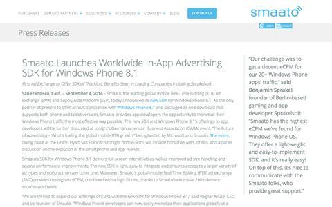 Screenshot of Press Page smaato.com - Smaato Press Releases - captured Sept. 17, 2014