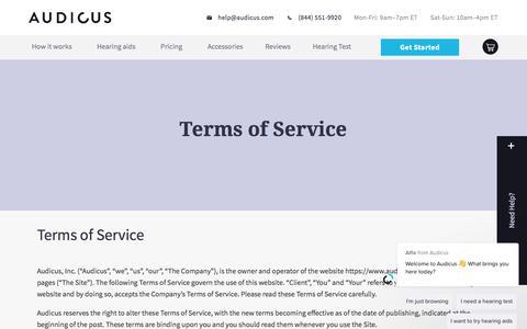 Screenshot of Terms Page audicus.com - Alfie says… - captured June 27, 2019