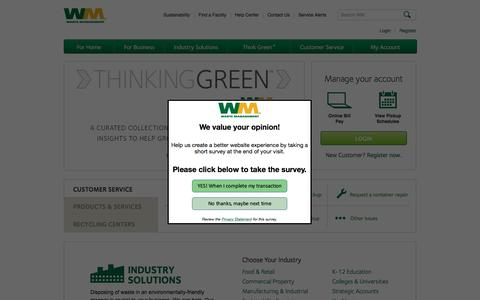 Screenshot of Home Page wm.com - Waste disposal, Collection and Removal, Recycling Centers | Waste Management - captured Oct. 17, 2016