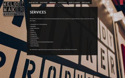 Screenshot of Services Page melodymakerproductions.com - Services | Melody Maker Productions - captured Jan. 9, 2016