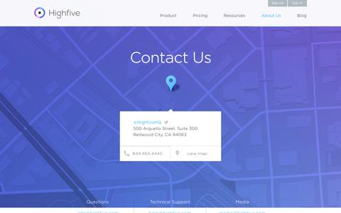Screenshot of Contact Page highfive.com - Contact Highfive - We'll Answer Your Video Meeting Questions | Highfive - captured Nov. 2, 2014