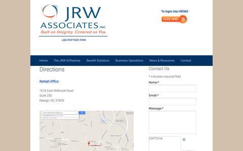 Screenshot of Maps & Directions Page jrwassoc.com - Directions | Raleigh | North Carolina | JRW Associates - captured Nov. 26, 2016