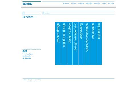 Screenshot of Services Page blueskydesigngroup.com.au - Services   Blue Sky - captured Oct. 23, 2014