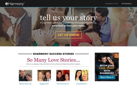 Screenshot of Testimonials Page eharmony.com - eHarmony Singles Success Stories - captured March 5, 2016